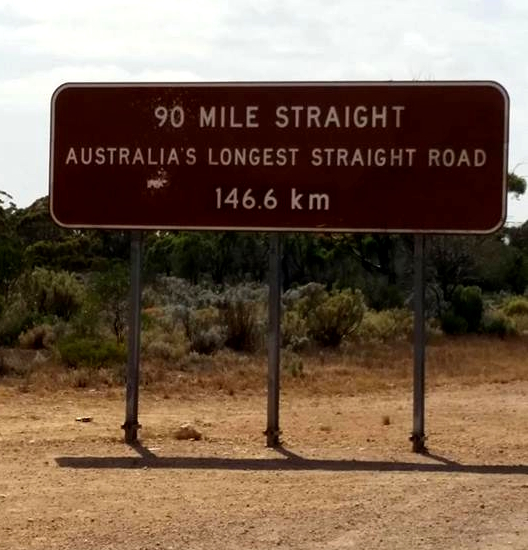 90 mile sign seen when driving the nullarbor