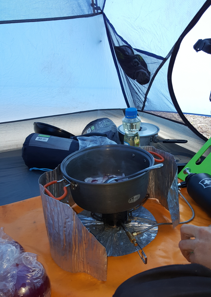 cooking insie a tent - NOT recommended due to safety