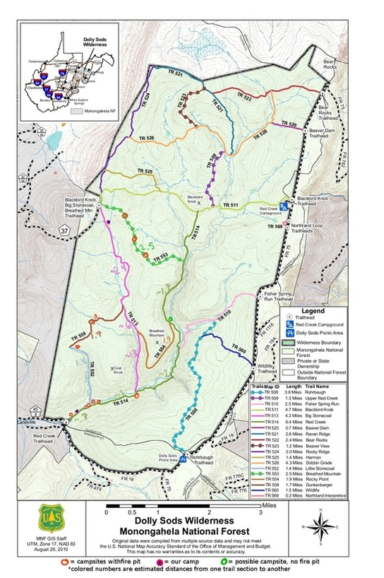 Dolly sods designated campsites map